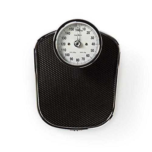 Nedis - Analoge Personenwaage - Retro-Design - Bis 160 kg - Edelstahloptik - Für regelmäßige Gesundheitsprüfungen - Leicht ablesbare Ziffern