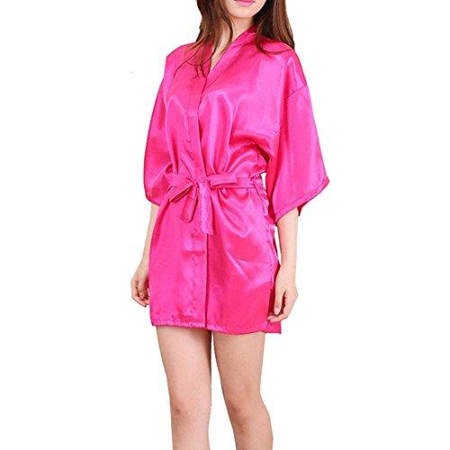 obe für Frauen Satin Dressing Kleider Robe Imitation Seide Kimono Satin Lingerie Spitze Nachtwäsche Sexy Eis Seide Nachtwäsche (XL, Style 2-Rose Rot) (Seide Rote Rosen)