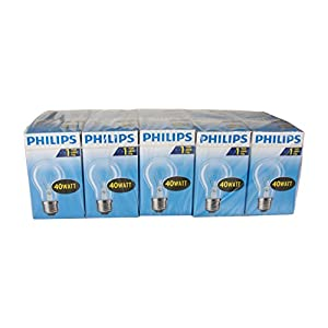 Philips 30600001 E Glühlampe Birnenform, 10-er, Glas, 40 watts, E27, klar, 5,5 x 5,5 x 9,25 cm