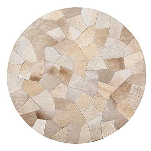 LMXJB Klassisch Sahne Geometrische Gitternaht Runde Teppiche Mit 100% Handgemachter NäHteppich, Tradition Rindsleder Teppichboden Im BüRobereich, Wohnzimmer Rutschfester Teppich,Diameter1.8m/6'