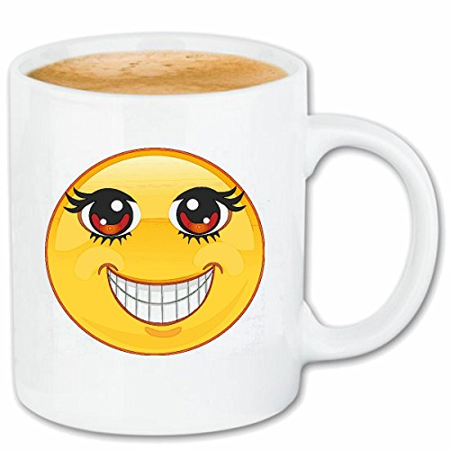 Reifen-Markt Kaffeetasse GLÜCKLICHER Smiley MIT GROSSEN Augen Smileys Smilies Android iPhone Emoticons IOS GRINSE Gesicht Emoticon APP Keramik 330 ml in Weiß