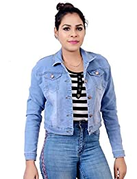 KING-DENIM Shree Kmt Enterprises Full Sleeves Comfort Fit Regular Collar Blue Jacket for Women