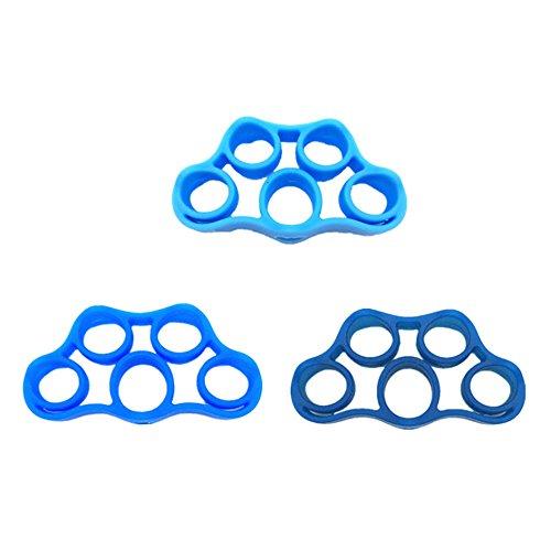 Ndier - set di 3 anelli da dita, impugnatura in silicone per rinforzare le dita, colore: azzurro, blu scuro