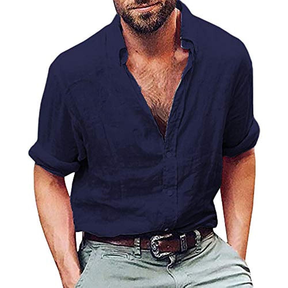Одежда мои кумиры YEARNLY Herren Langarm Henley Shirt Baumwolle Leinen Strand Yoga Loose Fit Tops Bluse Baumwoll und Leinenfestes langärmliges Hemd