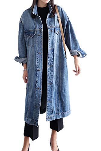 Frühling und Herbst Damen Lang Jeansjacke Casual Langarm Denim Jacke Oberteile Mantel Fashions Coat Tops Outerwear Oberbekleidung