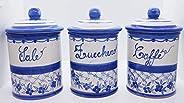 Set 3 Barattoli Sale Zucchero Caffé Linea Fiori Blu Ceramica Le Ceramiche del Castello Handmade Pezzi Unici Ma