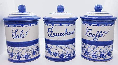 Set 3 Barattoli Sale Zucchero Caffé Linea Fiori Blu Ceramica Le Ceramiche del Castello Handmade Pezzi Unici Made in Italy