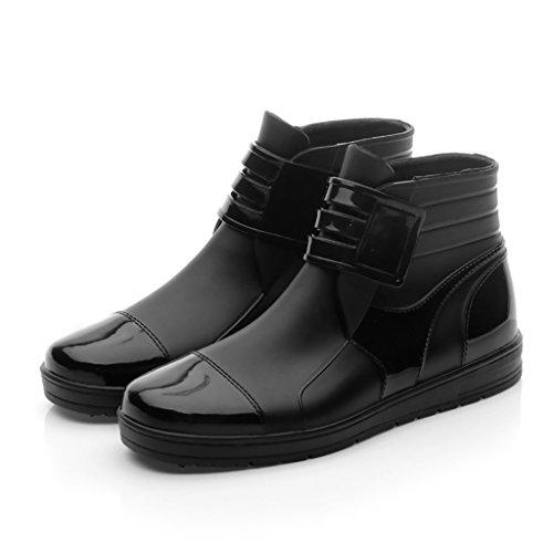 Qyqyx stivali da pioggia da uomo di willington, bassi stivali impermeabili in plastica antiscivolo (colore : nero, dimensioni : 43)