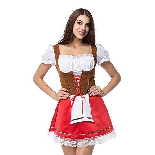 LaLaLa Damen Dirndl Kleid Rosa Kostüm Für Bayerischen Oktoberfest Karneval Halloween (2 Teile: Kleid, Schürze),XL (Lucky Lady Kostüm)