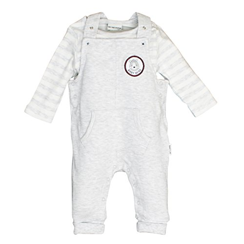 SALT AND PEPPER Baby-Jungen Strampler NB Playsuit Bear Uni Tasche, Grau (Light Grey Melange 201), 50