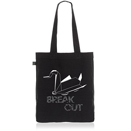 style3 Swan - Break Out Biobaumwolle Beutel Jutebeutel Tasche Tote Bag, Farbe:Schwarz