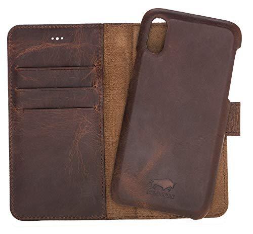 Solo Pelle Lederhülle Clemson kompatibel für das Apple iPhone X/XS inklusive abnehmbare Hülle mit integrierten Kartenfächern (Vintage Braun)