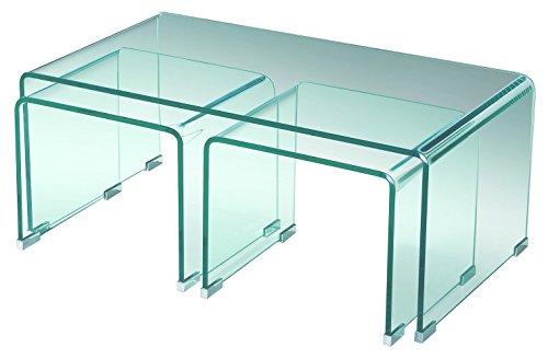 Sen meubles Ritz clair Table basse en verre gigognes 3tables