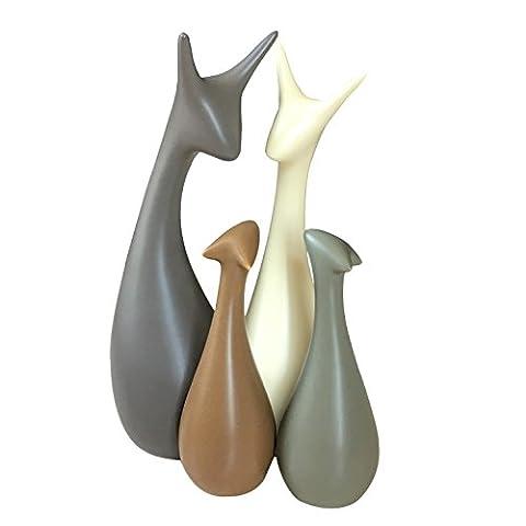 Lovely Hirsche Familie Keramik Ornamente, moderne Art und kreative dekorative Elemente (4 Hirsche) - Magenesis ®