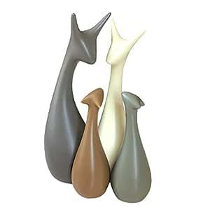 Soprammobile ceramica della famiglia dei cervi belli, stile moderno e creativo elementi decorativi ( 4 Cervi ) - Magenesis®