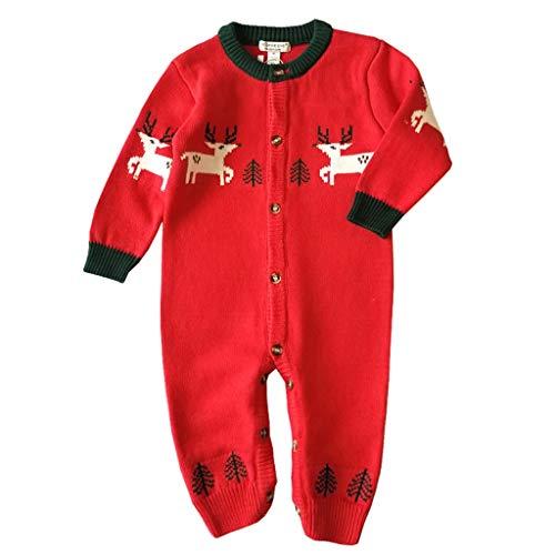 LEXUPE Baby Kleidung Set Mädchen Weihnachtsoutfit Baby Kleid Tütü Bodys Strampler Stirnband Beinwärmer Schuhe(Rot,90) -