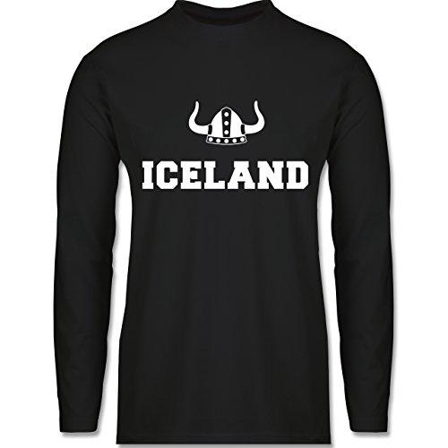 Shirtracer Länder - Iceland + Wikingerhelm - Herren Langarmshirt Schwarz