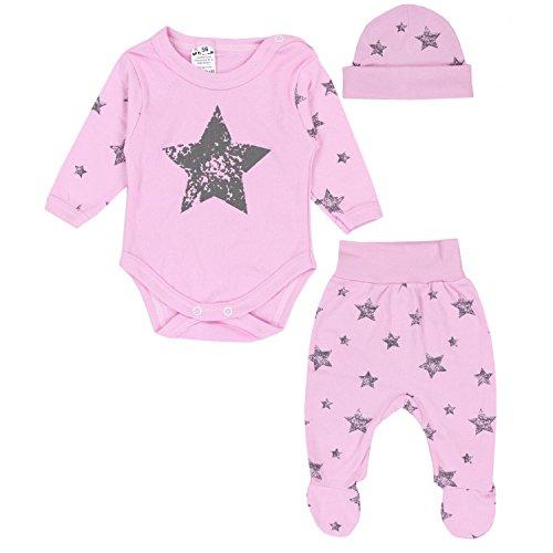 TupTam Baby Bekleidungsset Body Strampelhose Mütze Teddybär, Farbe: Graue Sterne...