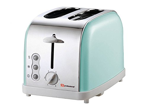 Matching Kitchen Set of Three items: Electric Kettle, Bread bin and canisters and Two Slice Toaster in Light Blue, Pink or Mint Green (Mint Green)