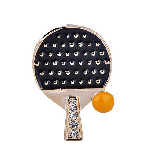 CCJIAC Tischtennis Ball Kristall Brosche Corsage Gold Farbe Rot Emaille Sport Ausrüstung Abzeichen Broschen Souvenir Geschenke (Tischtennis Kostüm)