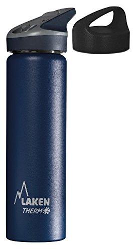 Laken Thermo Jannu Trinkflasche aus Edelstahl, Thermoflasche Vakuumisoliert; Trinkkappe mit Strohhalm 0,75l TJ7, Blau + extra Classic Trinkverschluss