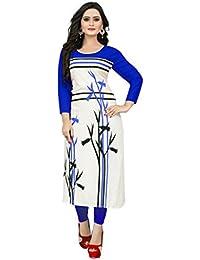 Vaikunth Fabrics Women's Rayon Blue & White Color Kurtis