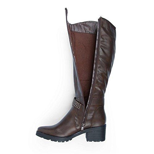 Ideal Shoes–Stiefel mit Strasslibelle aus Kunstleder mit Lochkoppel Nägel Valentine Braun - braun