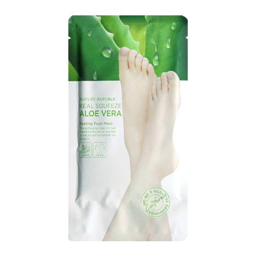 (3 Pack) NATURE REPUBLIC Real Squeeze Aloe Vera Peeling Foot Mask