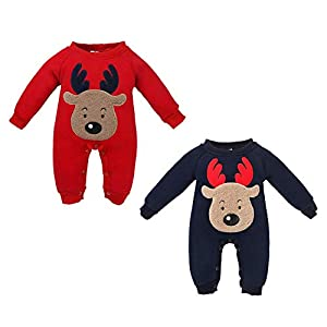 Newborn Long-Sleeved Elk Jumpsuit in Autumn and Winter
