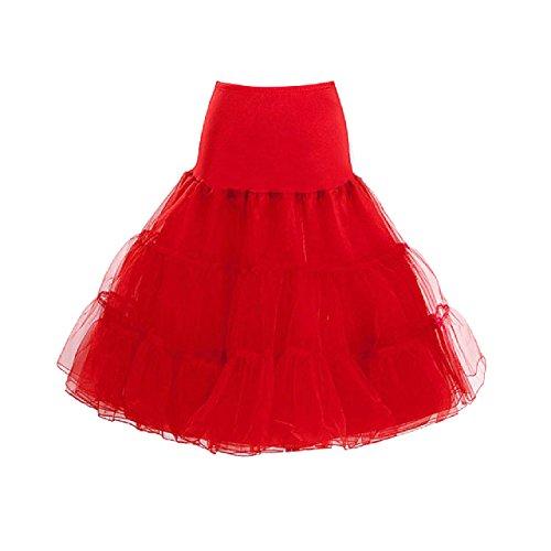 LUOUSE Vintage Damen 50s Rockabilly Tutu Skirt Petticoat (Mehreren (Größe Plus Red Tutu)