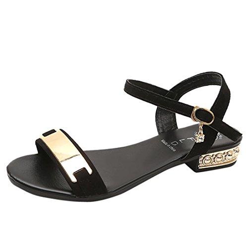 Kkangrunmy sandali comodi donna, scarpe estive donna sandali sandalo basso oro,sandali con cinturino incrociato con tacco a spillo e tacco basso (35, nero)