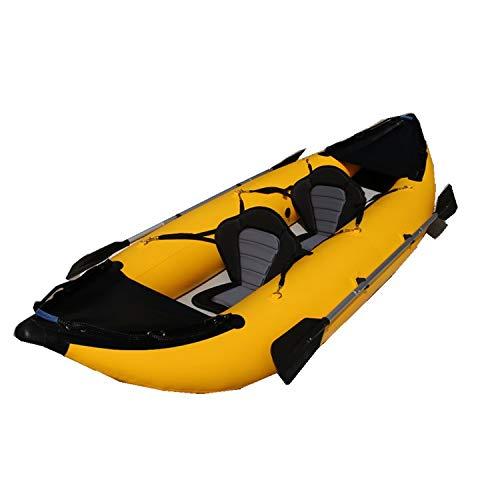 Kaitts PVC Dropstitch 2er Luftkajak Schlauchboot Zweierkajak Komplettset, Farbe:Schwarz Gelb