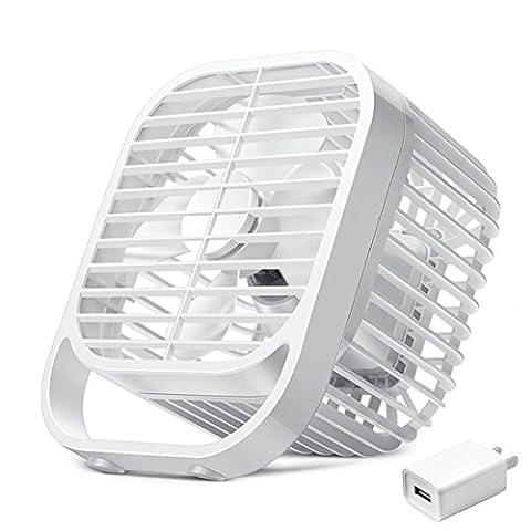 Stylish and innovative mini fan mini USB fan 8 Inch mini mute small fans office quarters desktop home beds desk fan students Walkman, White
