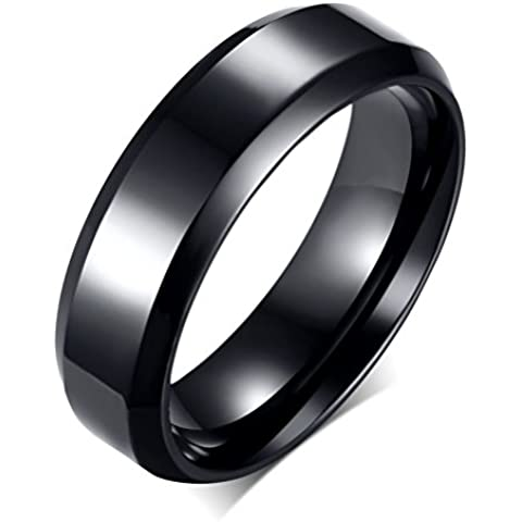 Anello a fascia in acciaio INOX, a tinta unita, da uomo e da donna, da fidanzamento, da matrimonio Promise, larghezza 6 mm, colore: nero - Ametista Promise Ring