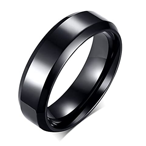 Stainless Steel Plain Band Ring for Men Women Wedding Engagement Promise,6mm Width,Black,Size 10