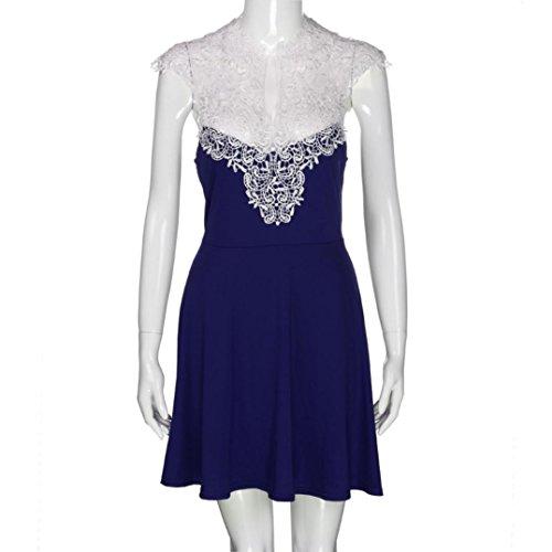 01a35788a972a Amlaiworld damen Hohl Spitze Spleiß kleider elegant locker V-Ausschnitt  Plissee Kleid mode kleidung Für ...