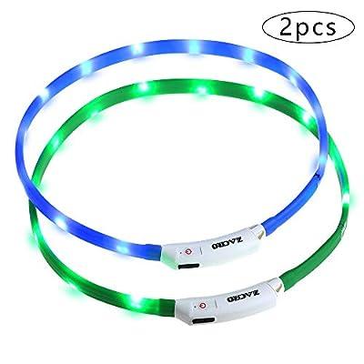 Zacro 2 Stück Hundehalsband LED Leuchthalsband USB Wiederaufladbares und Längenverstellbareres Hunde Halsband mit DREI Beleuchtungsmodi für Hunde und Katzen