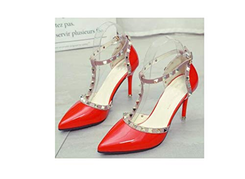 2018 Nude Color Rivet High-Heeled Women Sandals Stiletto Heel Patent Leather Bandage Hollow Tip Baotou Women's Shoes Red 6