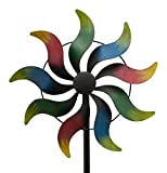 WINDRAD °ART FERRO ° Regenbogen ° METALL° WINDSPIEL° GARTENSTECKER° 35 x 11,5 x 168 cm