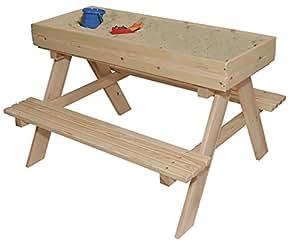 Kinder Picknick Tafel : Erdbeerwoody holzspielbank sandkasten mit tafel und stauraum