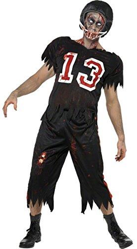 (KULTFAKTOR GmbH High School Horror Zombie-Footballer Kostüm schwarz-Weiss-rot M)