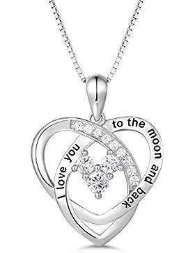 MASOP Damen Halskette 925 Sterling Silber Liebe Herz Anhänger I Love You To The Moon And Back mit Weiß Rund Zirkonia...