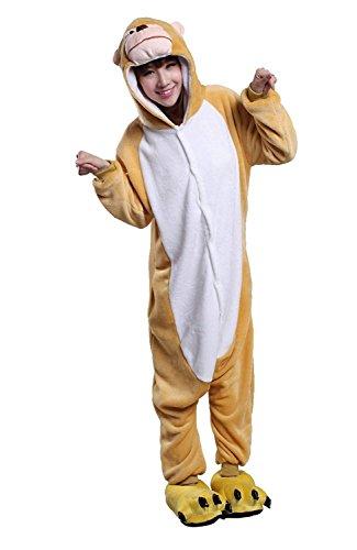 URVIP Neu Unisex Festliche Anzug Flanell Pyjamas Trickfilm Jumpsuit Tier Cartoon Fasching Halloween Kostüm Sleepsuit Party Cosplay Pyjama Schlafanzug AFFE ()