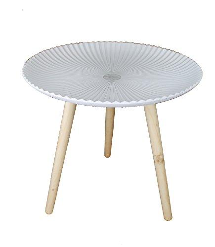 Design Retro Beistelltische 48 cm Holz Weiß Kaffeetisch Couchtisch Nachttisch (Design13-4) (Retro Beistelltisch)