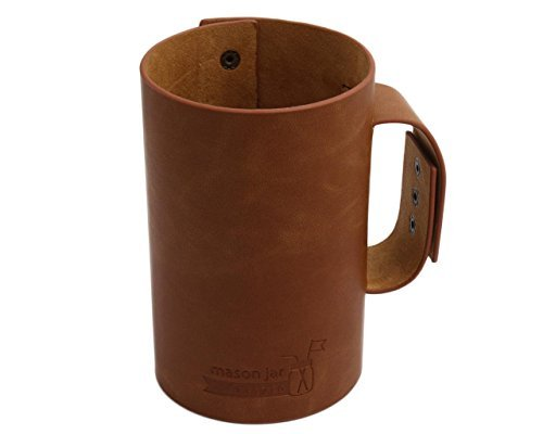 Faux Leather Sleeve with Handle / Travel Mug for Pint & Half (24oz) Mason Jars (Pint Mason Jar)