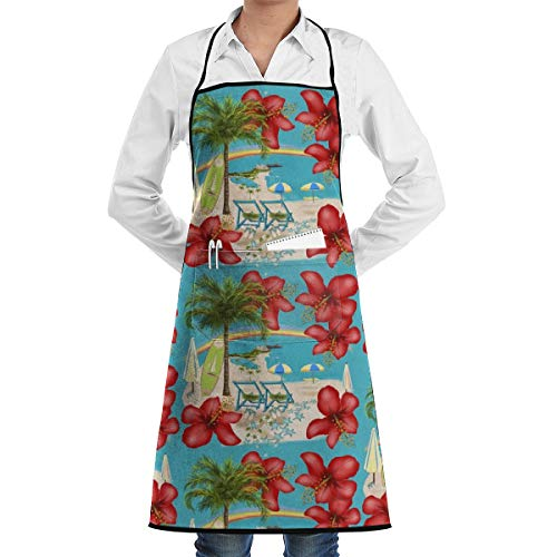 Desing shop Rainbow Waikiki Tropical Vacation Grill Aprons Kitchen Chef Bib BBQ, Baking, Cooking for Men Women / 100% Cotton, Adjustable 2 Pockets 28 X 20 Inch