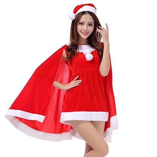 TianWlio Dessous Mode Damen Unterwäsche Unterhosen Unterröcke Negligees Weihnachten Unterwäsche Weihnachtsfeier Kleid Kostüme ansprechendes Mantel Kleid Set rot One Size
