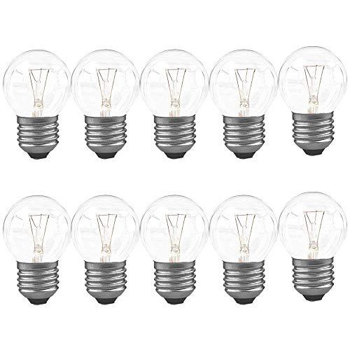 10 x Tropfen Glühbirnen 40W E27 klar Glühlampen 40 Watt Leuchtmittel Kugel P45 warmweiß 2700K DIMMBAR (Tropfen E27, 40W) -