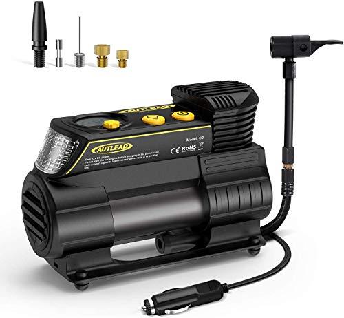 Autlead c2 compressore portatile per auto, 40l/min 12v compressore d'aria con connettore rapido, misuratore digitale, torcia elettrica a led, 4 ugelli/adattatori per auto, moto, palle