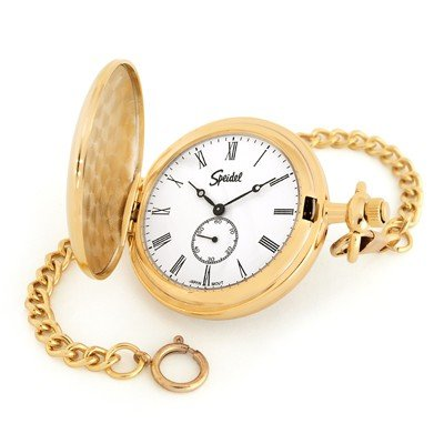 atte Taschenuhr mit 35,6cm Kette, Gold Ton mit Weiß Zifferblatt in Geschenkbox–Gravierbarer (Gold-ton-ketten)